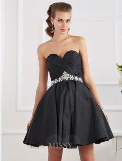 A-Line Mini Sweetheart Sleeveless Homecoming Dress