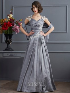 A-Line Sweetheart Short Sleeves Applique Beading Taffeta Floor-Length Dress
