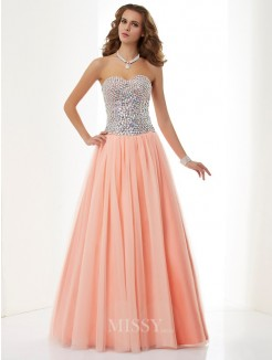 A-Line Sweetheart Sleeveless Floor-Length Beading Elastic Woven Satin Dress