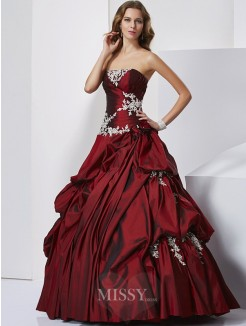 Ball Gown Sweetheart Sleeveless Beading Floor-length Taffeta Dress