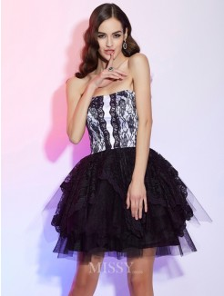 A-Line Sweetheart Sleeveless Lace Mini Cocktail Dress
