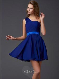 A-Line Sleeveless Chiffon One-Shoulder Pleats Mini Dress