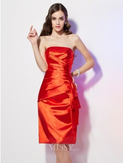 Sheath Strapless Sleeveless Pleats Elastic Woven Satin Mini Dress