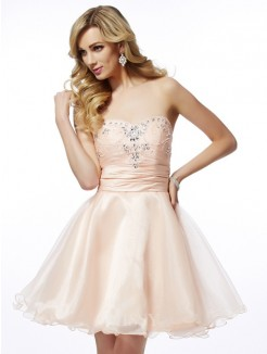 A-Line Sweetheart Sleeveless Beading Mini Tulle Cocktail Dress