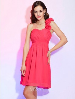 A-Line One-Shoulder Sleeveless Pleats Mini Chiffon Dress