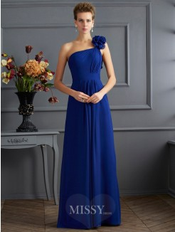 A-Line One-Shoulder Pleats Sleeveless Chiffon Floor-Length Dress