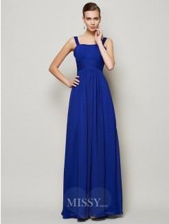 Sheath Straps Sleeveless Pleats Floor-Length Chiffon Dress