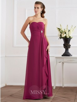 Sweetheart Sheath Sleeveless Chiffon Floor-Length Dress