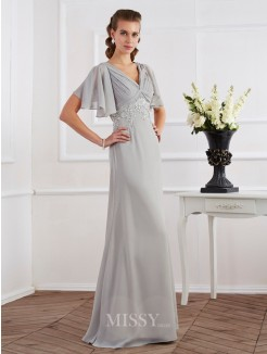 Sheath Short Sleeves V-neck Beading Floor-Length Chiffon Dress