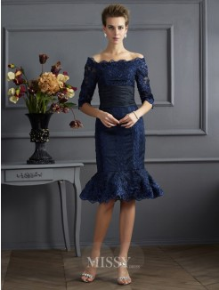 Sheath Off-the-Shoulder 3/4 Sleeves Knee-Length Taffeta Dress