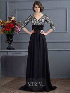 Sheath V-neck 3/4 Sleeves Chiffon Sweep/Brush Train Dress With Lace