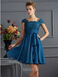A-Line Scoop Chiffon Short Sleeves Mini Dress With Lace