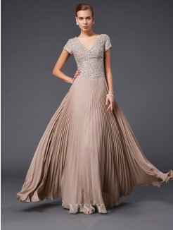 A-Line V-neck Beading Short Sleeves Floor-length Chiffon Dress