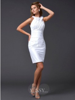Sheath Hand-Made Flower Sleeveless Taffeta High Neck Mini Dress