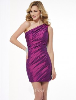 Sheath One-Shoulder Sleeveless Ruched Taffeta Mini Dress