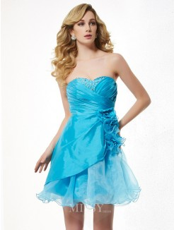 A-Line Sweetheart Sleeveless Beading Mini Taffeta Dress