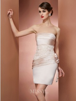 Sheath Strapless Sleeveless Hand-Made Flower Satin Mini Dress