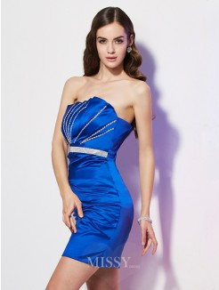 Sheath Strapless Sleeveless Beading Satin Mini Dress