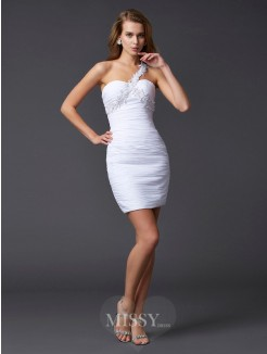 Sheath One-Shoulder Sleeveless Applique Beading Mini Chiffon Dress