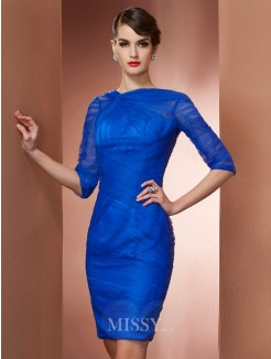 Sheath High Neck 1/2 Sleeves Pleats Mini Elastic Woven Satin Dress