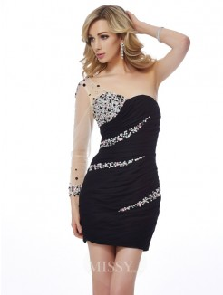 Sheath One-Shoulder Sleeveless Beading Mini Chiffon Dress