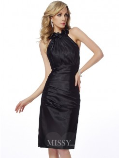 Sheath Bateau Sleeveless Applique Knee-Length Elastic Woven Satin Dress