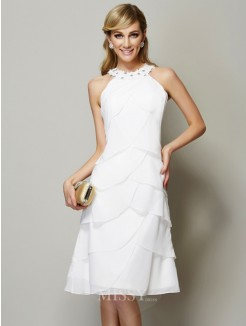 Sheath Bateau Sleeveless Applique Knee-Length Chiffon Beading Dress