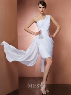 Sheath One-Shoulder Sleeveless Pleats Beading Chiffon Mini Dress