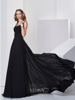 Sheath Straps Sleeveless Beading Sweep/Brush Train Chiffon Dress