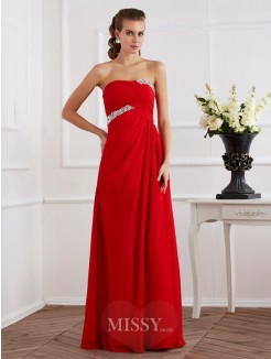 Sheath Sleeveless Strapless Beading Chiffon Floor-Length Long Dress