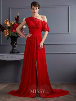 A-Line One-Shoulder Sleeveless Applique Chiffon Court Train Dress