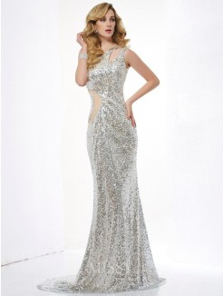 Mermaid Sleeveless One-Shoulder Sequins Lace Sweep/Brush Train Dress