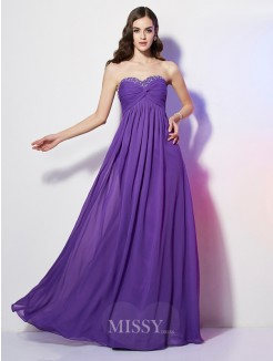 A-Line Sweetheart Sleeveless Beading Chiffon Floor-Length Dress
