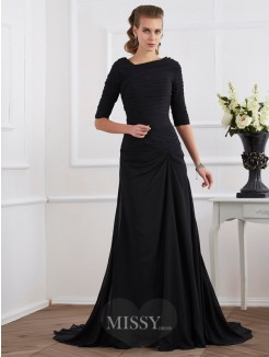 A-Line Chiffon 1/2 Sleeves Pleats Sweep/Brush Train Dress
