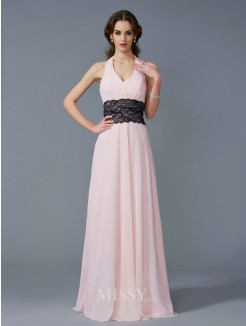A-Line Halter Sleeveless Applique Floor-Length Chiffon Dress
