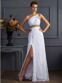 A-Line One-Shoulder Sleeveless Beading Floor-Length Chiffon Dress