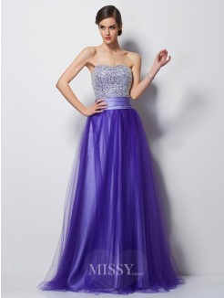 A-Line Sweetheart Sleeveless Beading Satin Floor-Length Dress