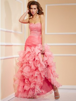 Mermaid Sweetheart Sleeveless Beading Asymmetrical Organza Dress