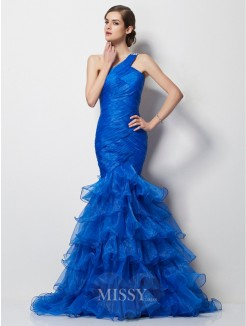 Mermaid One-Shoulder Sleeveless Pleats Sweep/Brush Train Tulle Dress