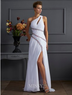 Sheath Beading One-Shoulder Sleeveless Sweep/Brush Train Chiffon Dress