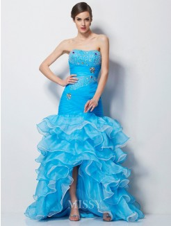 Mermaid Sweetheart Sleeveless Beading Tulle Asymmetrical Dress