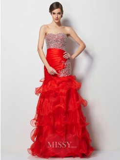 Mermaid Sweetheart Sleeveless Beading Tulle Floor-Length Dress
