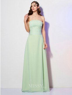 A-Line Strapless Pleats Sleeveless Floor-Length Chiffon Dress