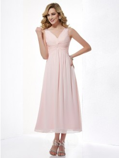 A-Line Sleeveless V-neck Beading Pleats Chiffon Tea-Length Dress