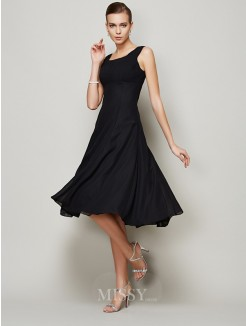 A-Line Straps Sleeveless Pleats Knee-length Chiffon Dress