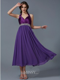 A-Line Halter Sleeveless Beading Ankle-Length Chiffon Dress
