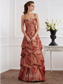 Sheath Beading Spaghetti Straps Sleeveless Taffeta Floor-Length Dress