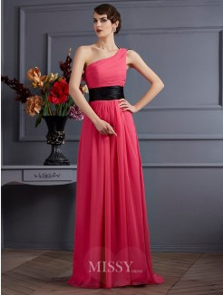 A-Line Sleeveless Pleats One-Shoulder Chiffon Sweep/Brush Train Dress