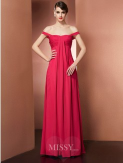 A-Line Off-the-Shoulder Sleeveless Pleats Floor-Length Chiffon Dress