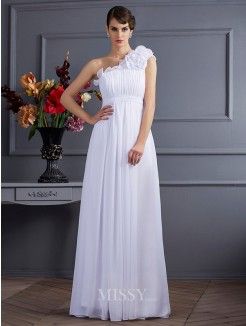 A-Line Sleeveless Applique One-Shoulder Pleats Chiffon Floor-Length Dress